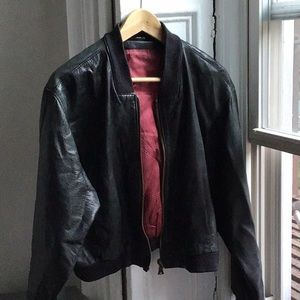 Vintage Buttery Soft Leather Bomber Jacket Black S